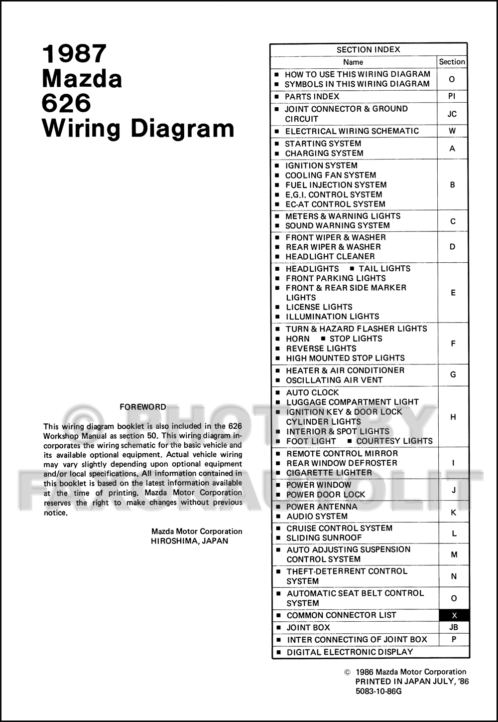 1987 Mazda 626 Wiring Diagram Manual Original
