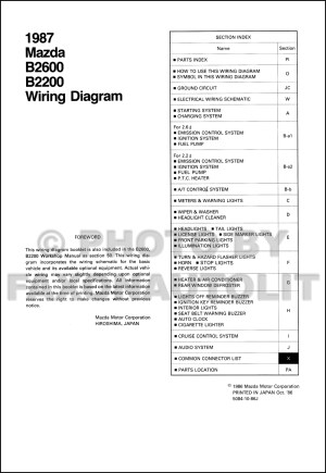1987 Mazda B2200 B2600 Pickup Truck Wiring Diagram Manual