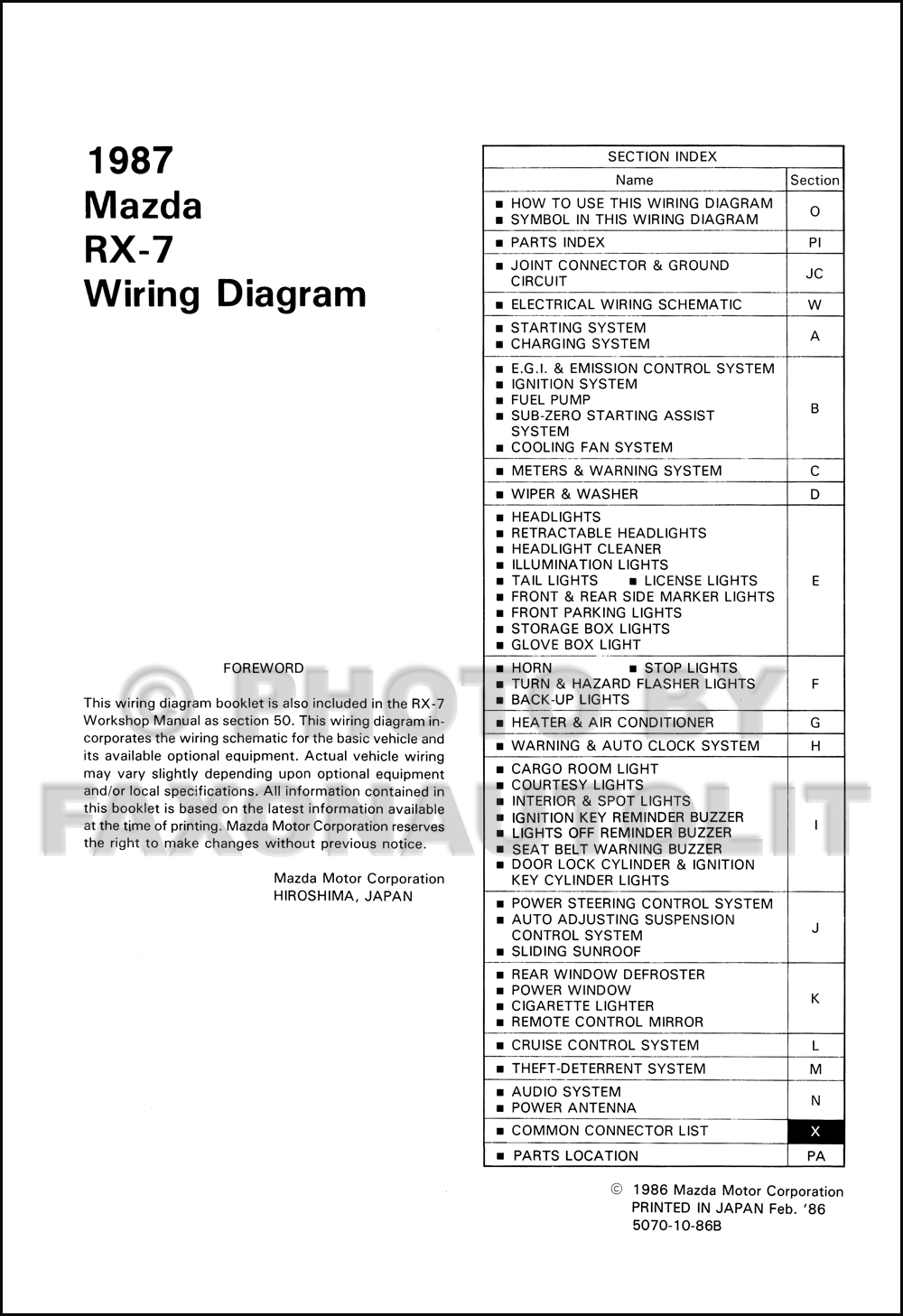 1987 Mazda RX-7 Wiring Diagram Manual Original RX7
