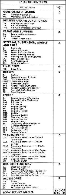 1987 Pontiac 6000 Repair Shop Manual Original