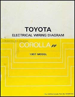 1987 Toyota Corolla FWD Wiring Diagram Manual Original