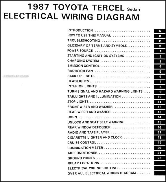 1986 Toyota Tercel Fuse Box Wiring Diagram Box