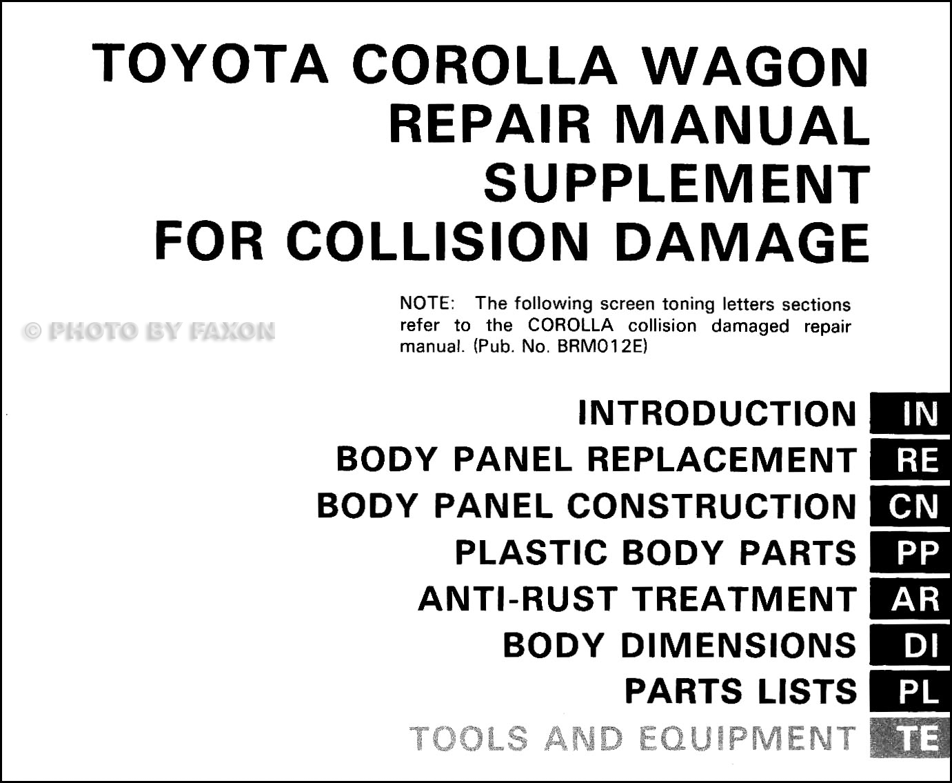1988-1992 Toyota Corolla Wagon Body Collision Manual
