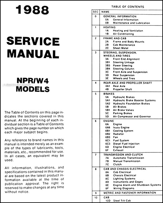 1988 NPR & W4 Tiltmaster Truck Repair Shop Manual Original