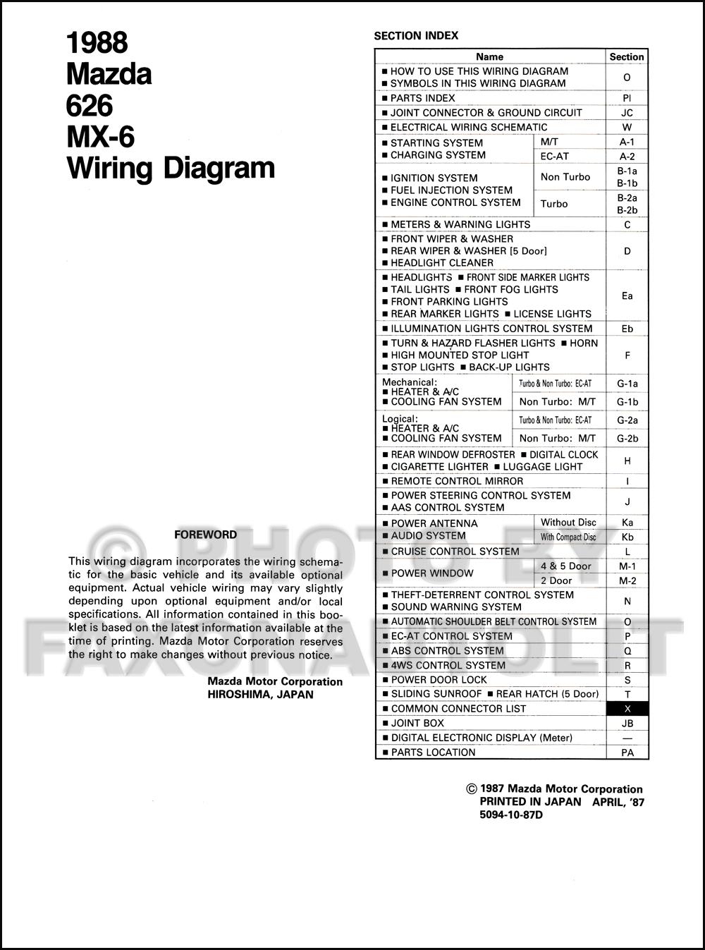Wiring Diagram For A 1988 Mazda 626 : 35 Wiring Diagram