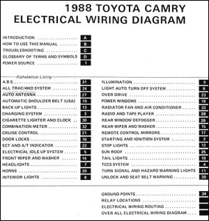 1988 Toyota Camry Wiring Diagram Manual Original