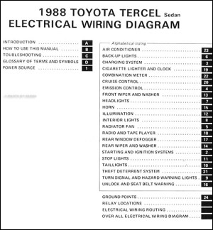 1988 Toyota Tercel Sedan Wiring Diagram Manual Original
