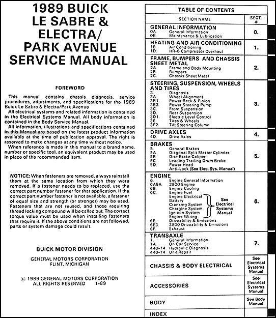 1997 buick riviera repair manual