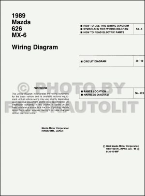 1989 Mazda 626 and MX6 Wiring Diagram Manual Original