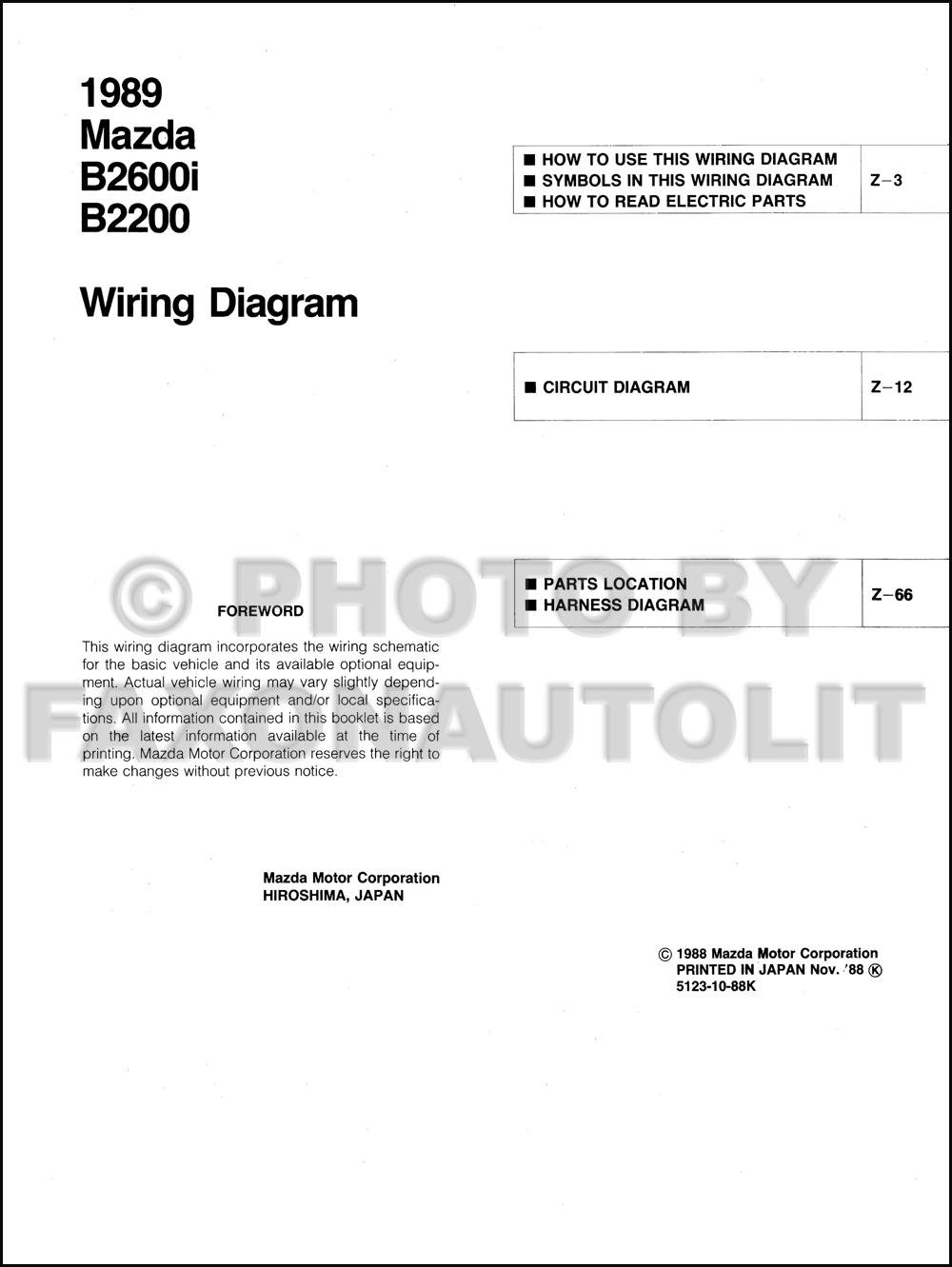 medium resolution of 1989 mazda b2600i b2200 pickup truck wiring diagram manual 1989 mazda b2200 carburetor diagram mazda b2200 carburetor diagram