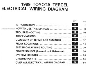 1989 Toyota Tercel Wiring Diagram Manual Original