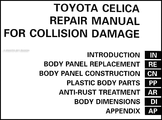 1990-1993 Toyota Celica Body Collision Repair Shop Manual