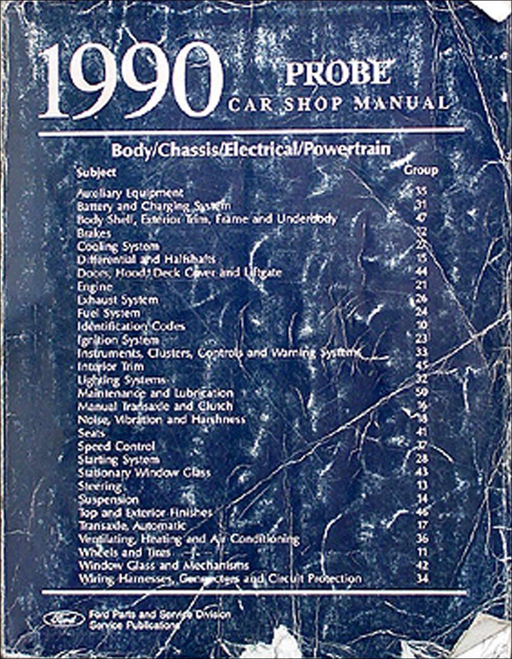hight resolution of 1990 ford probe repair shop manual original including gl lx gt1990 ford probe repair manual original
