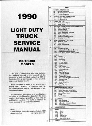 1990 GMC CK Sierra Pickup Repair Shop Manual Original 1500, 2500, 3500 Truck