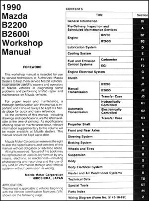 1990 Mazda B2200 B2600i Pickup Truck Repair Shop Manual