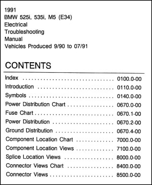 1991 BMW 525i 535i M5 Electrical Troubleshooting Manual