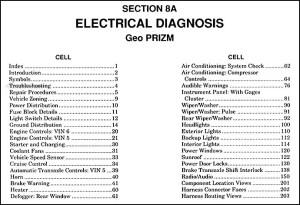 1991 Geo Prizm Electrical Diagnosis Manual Original