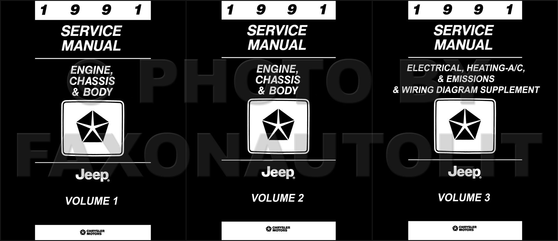 hight resolution of 1991 jeep shop manual original 3 volume set all models