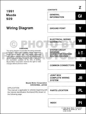 1991 Mazda 929 Wiring Diagram Manual Original