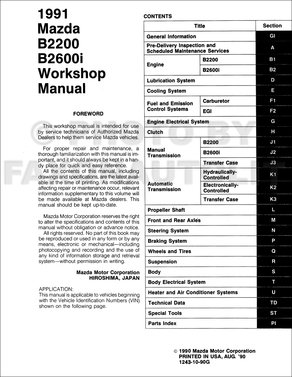Service manual [Automobile Fuse Manual For A 1991 Mazda B