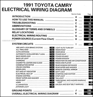 1991 Toyota Camry Wiring Diagram Manual Original