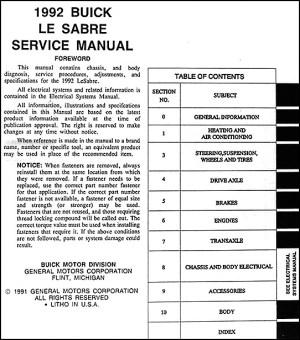 1992 Buick LeSabre Shop Repair Manual 92 Le Sabre Service
