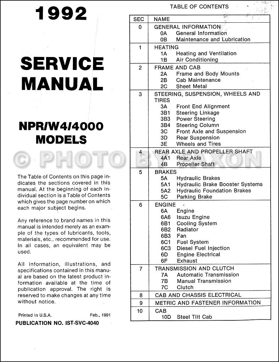 1992 NPR and W4 Repair Shop Manual Original Isuzu Chevy GMC