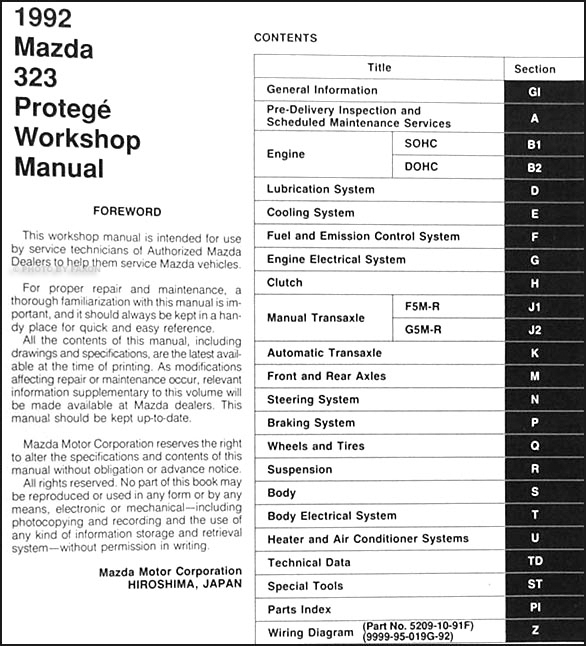 1992Mazda323ORM TOC?resize=586%2C646 marvelous mazda 323 wiring diagram pictures wiring schematic mazda 3 radio wiring diagram at edmiracle.co