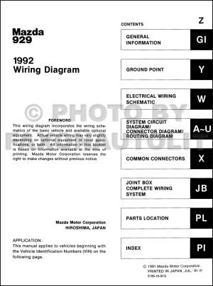 1992 Mazda 929 Wiring Diagram Manual Original