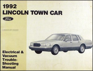 1992 Lincoln Town Car Factory Foldout Wiring Diagram Original