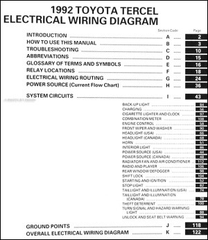 1992 Toyota Tercel Wiring Diagram Manual Original