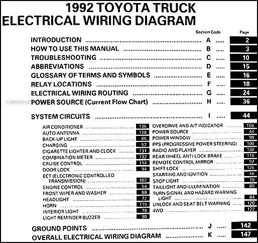 1992 Toyota Truck Wiring Diagram Manual Original