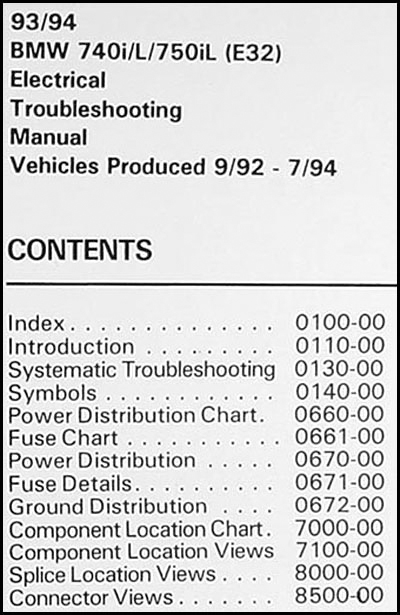 1993-1994 BMW 740i/L 750i/L Electrical Troubleshooting Manual