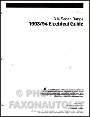 19931994 Jaguar XJ6 Electrical Guide Wiring Diagram