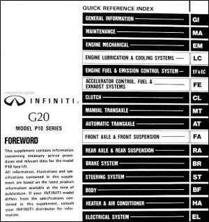 19935 Infiniti G20 Repair Shop Manual Original Supplement