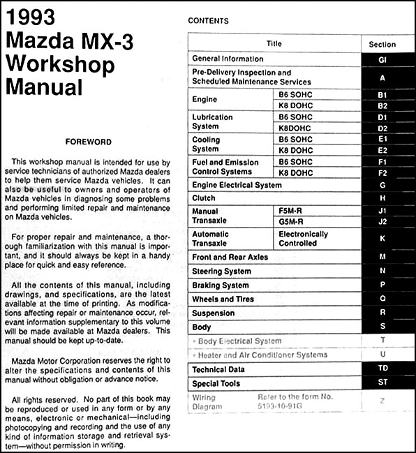 1993 Mazda MX-3 Repair Shop Manual Original