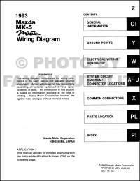1993 Mazda MX-5 Miata Wiring Diagram Manual Original
