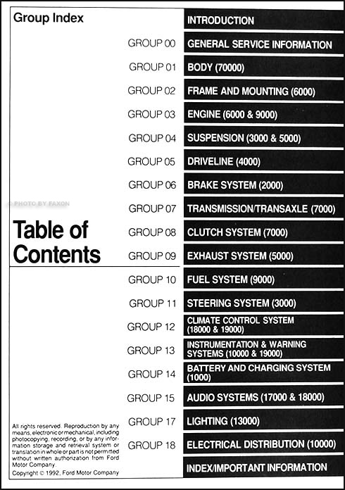 1993 Ford Thunderbird & Mercury Cougar Repair Shop Manual