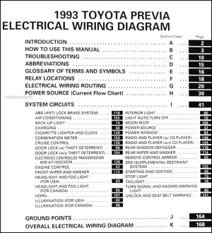 1993 Toyota Previa Wiring Diagram Manual Original