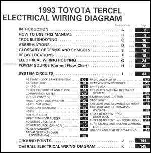 1993 Toyota Tercel Wiring Diagram Manual Original