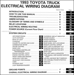 1993 Toyota Pickup Truck Wiring Diagram Manual Original