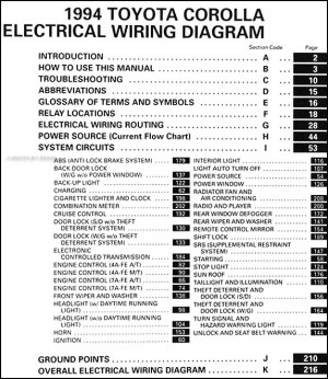 1994 Toyota Corolla Wiring Diagram Manual Original