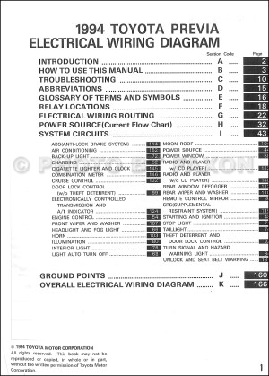 1994 Toyota Previa Wiring Diagram Manual Original Supplement