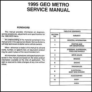 1995 Geo Metro Preliminary Repair Shop Service Manual Original OEM Book | eBay