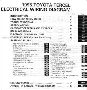 1995 Toyota Tercel Wiring Diagram Manual Original