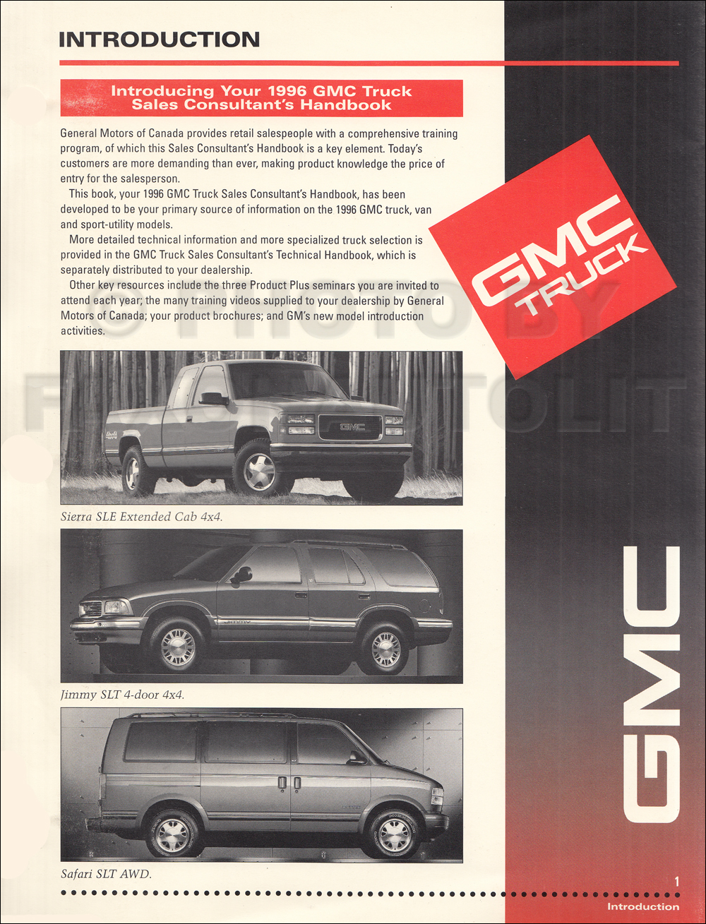 hight resolution of 1996 gmc light duty sales consultant handbook dealer album original canadian
