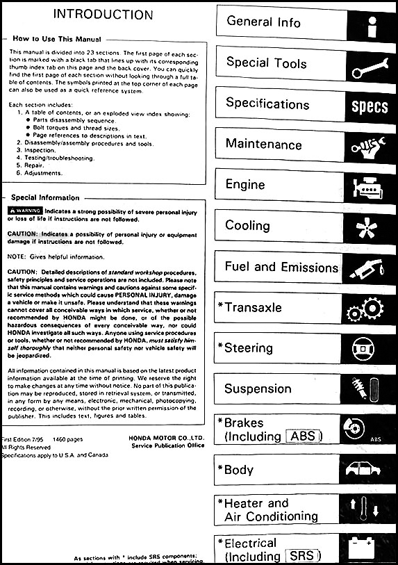 1996 Honda Accord Repair Shop Manual Original