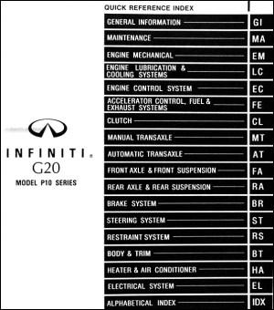 1996 Infiniti G20 Repair Shop Manual Original