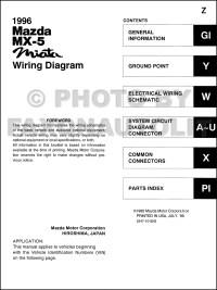 1996 Mazda MX-5 Miata Wiring Diagram Manual Original