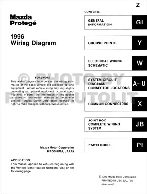 1996 Mazda Protege Wiring Diagram Manual Original